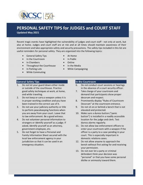 Personal safety tips for judges and court staff update
